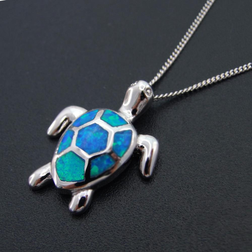 925 Sterling Silver Rhodium Hawaiian Seahorse Blue Opal Pendant Charm