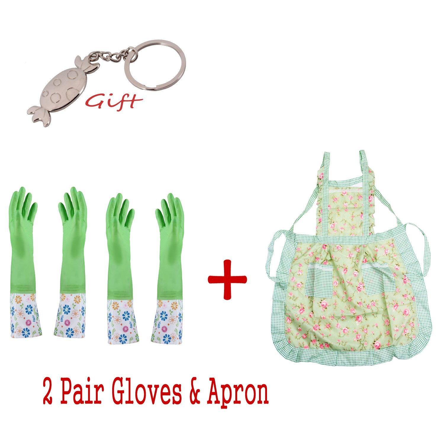 Long Sleeve Latex Kitchen Wash Dishes Dishwashing Gloves Cleaning Kit With Apron, Keep Warm Gloves&Thin Gloves&Apron 3 in 1 Household Gloves Cleaning Tools Accessories