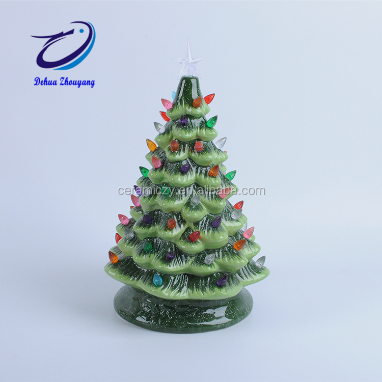Ceramic Christmas Tree Vintage.Vintage Electroplated Green Flocked Tabletop Ceramic Christmas Tree With Led Lights Buy Outdoor Led Christmas Tree White Christmas Tree With Blue