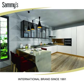 Pvc Thermal Foil Kitchen Cabinet Prefab Unit White Slab