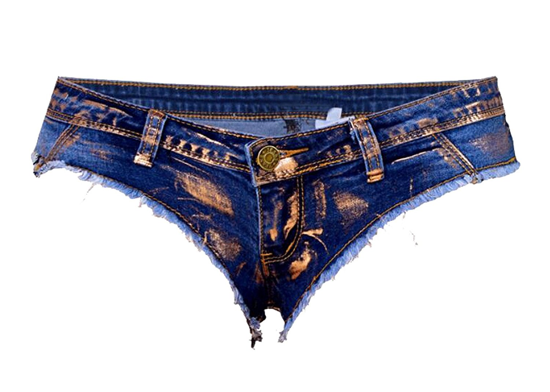 Fensajomon Womens No Belted Denim Split Low Waist Shorts Ripped Holes Denim Shorts Jeans