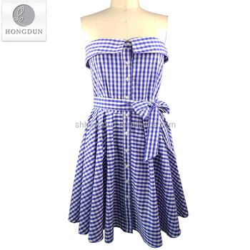 61e39c5e3a34 New Design Fashion Women Off Shoulder Dress Short Sleeve Plaid Button Down  Dress with Belt