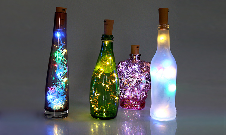 2017 New Wedding Table Centerpieces 2M20LED Cork Shape Warm White Micro Led Wine Bottle String Lights