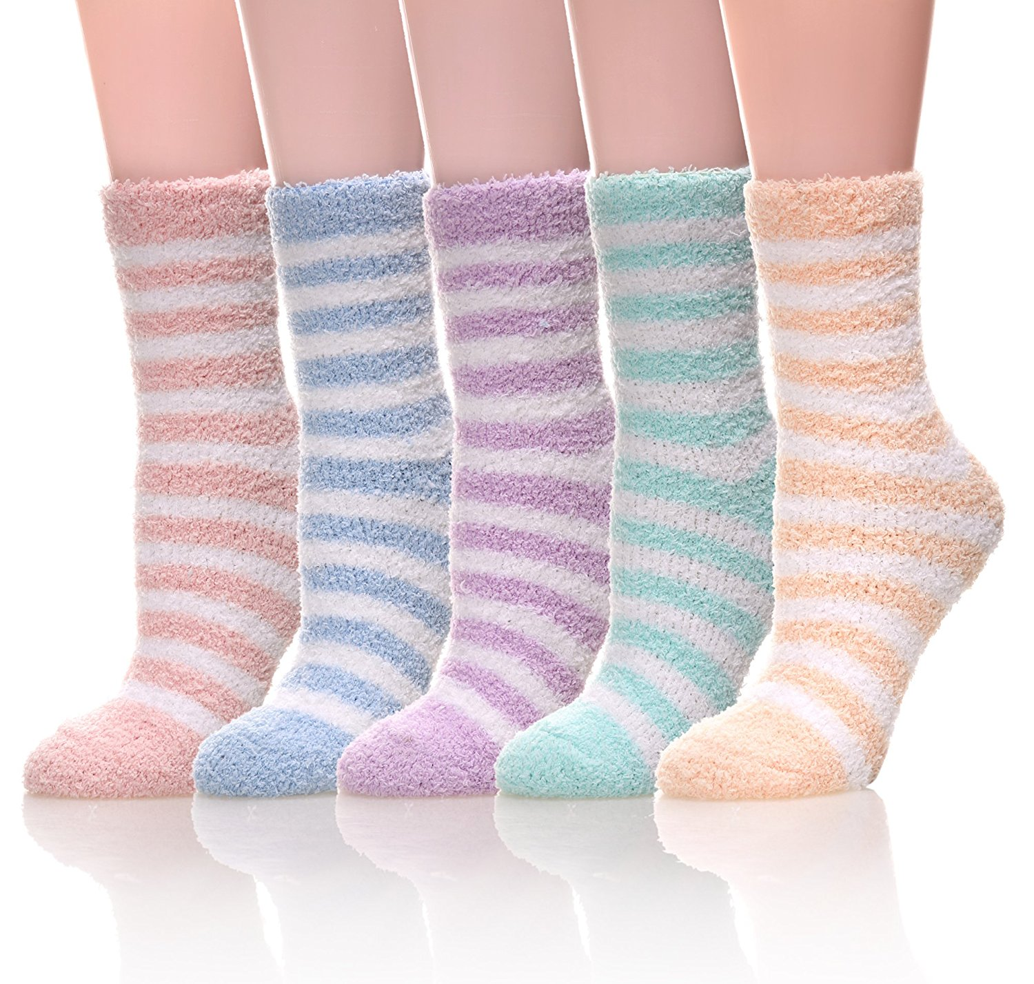 WENER Women's 5 pairs Super Soft Fuzzy Winter Warm Crew Slipper Socks