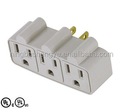 UL CUL approval 3 outlet grounding adapter current tap