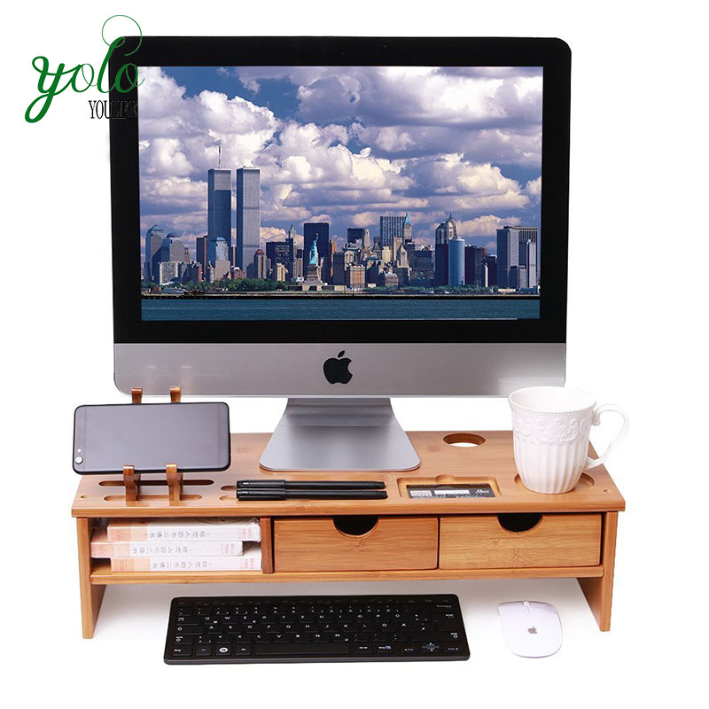 Bambo Computer Monitor Stand Riser Storage Organizer With Drawers For Home And Office
