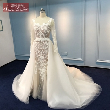 Long Sleeve Ivory Mermaid Wedding Dress With Detachable Train Buy Long Sleeve Wedding Dress Wedding Dress With Detachable Train Mermaid Wedding Dress Product On Alibaba Com