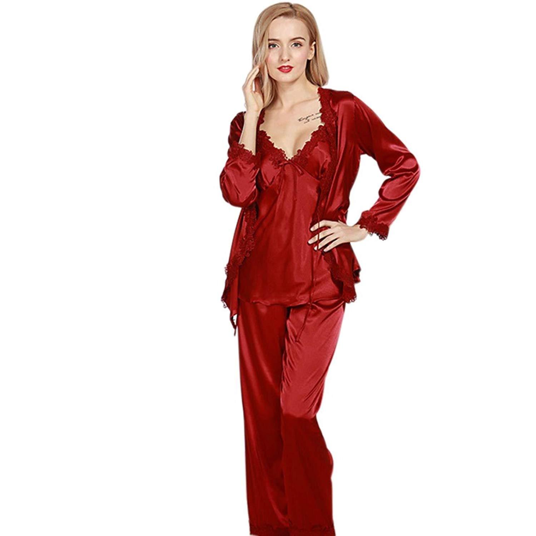 Get Quotations · OSIEDJO0J Luxurious Women Robe Pajama Sets Faux Silk Ladies  3 Pcs Lace Silky Pajamas Pants Set 3c9e0f9b5