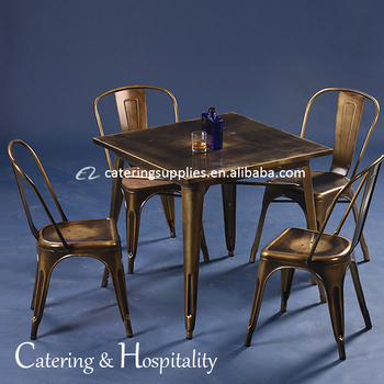 Commercial Wrought Iron Metal Furniture Coffee Cafe Square Tables And Chairs Set Restaurant