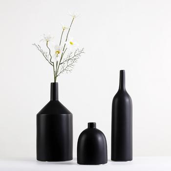 11 Chinese Black Ceramic Matt Long Neck Tatu Bottle Vase With