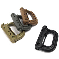 Wholesale Portable D-Shape Plastic PVC Climbing Carabiner Hanging Keychain Hook Fit Outdoor Army EDC Tool