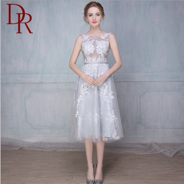 Lady evening formal open back round neck beautiful midi frocks organza elegant A-line embroidered wedding dresses short