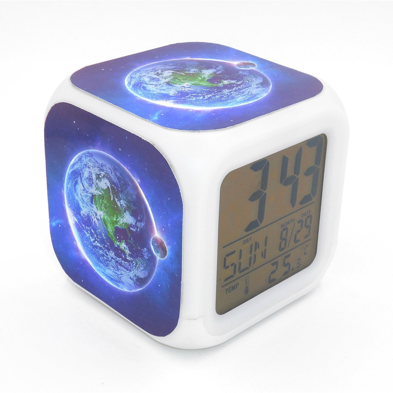 Boyan Led Alarm Clock Blue Earth Moon Creative Desk Table Clock Glowing Electric Led Digital Alarm Clock Kids Toy Gift