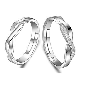 Loyal Couple Infinity Symbol S925 Silver Plain Engagement Couple