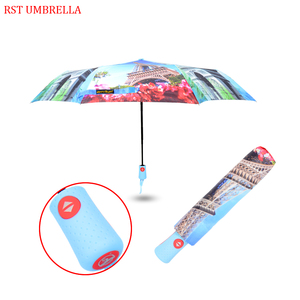 HAPPY SWAN 2018 new style promotional auto open close one hand operation waterproof 3 fold umbrella with the Eiffel Tower desig