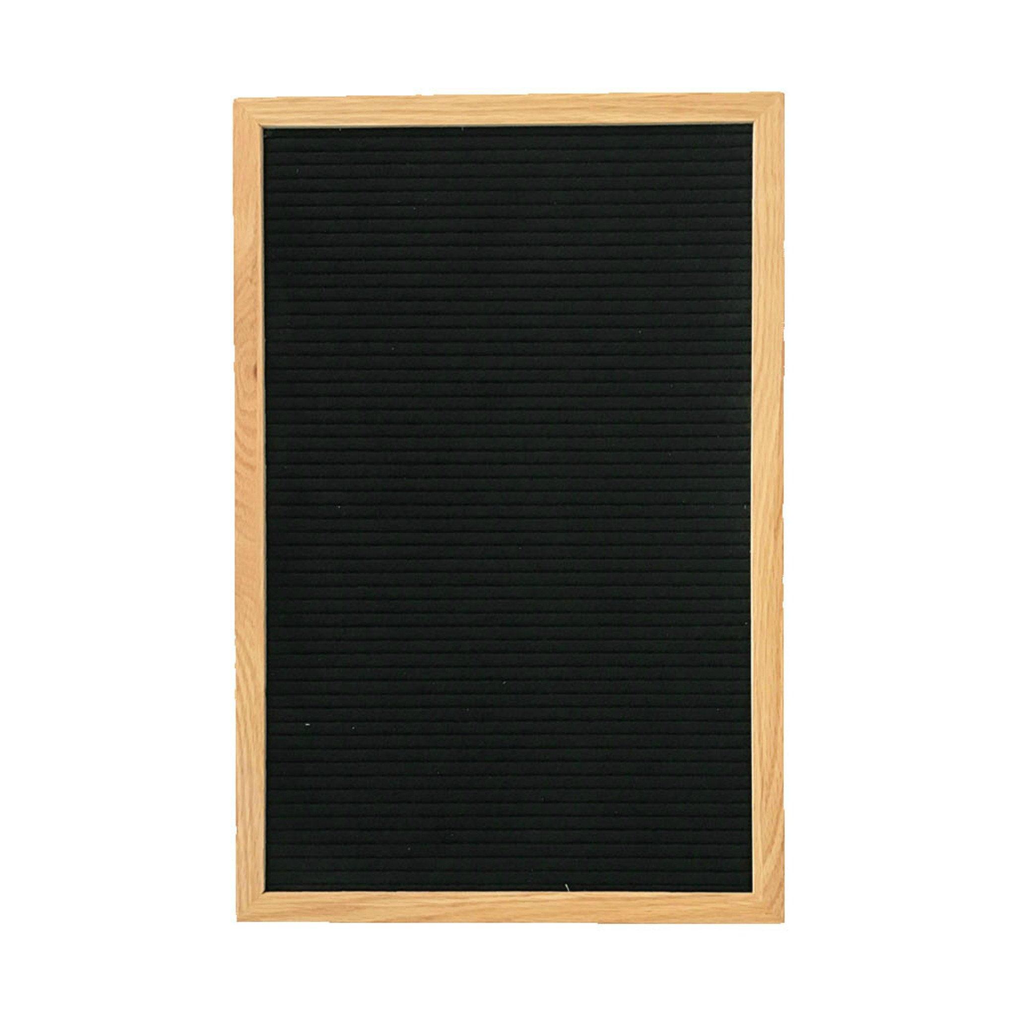 """Oak & Made Letter Board, Oak Frame, Black Felt, White Letters, Medium (12"""" x 18"""")"""