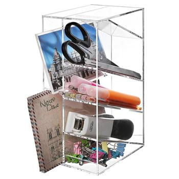 Clear Acrylic office and study suppliers file display rack holder crystal pen box