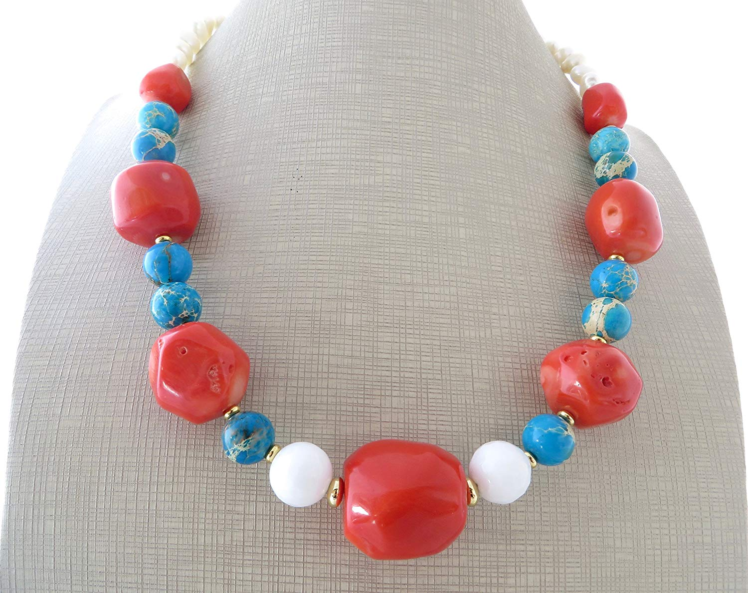 Orange coral and turquoise jasper necklace, chunky stone choker, big bold necklace, contemporary necklace, modern jewelry, stone jewelry