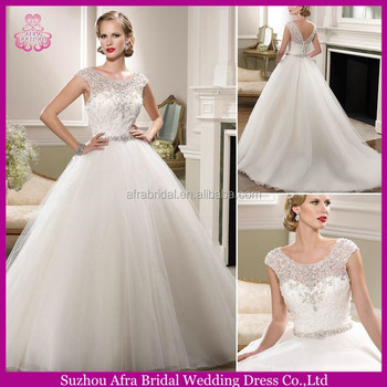 Sd1334 Cap Sleeve Sheer Top Crystal Wedding Dress Cheap Bling ...