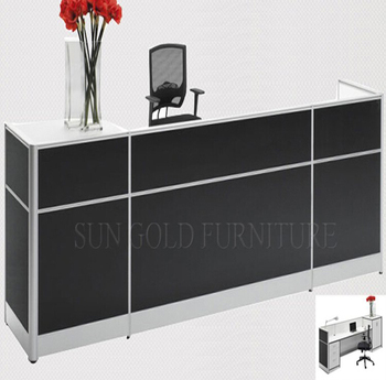 black wooden office reception counter table office furniture design