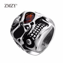 ZMZY brand jewelry 316L stainless steel skull male ring