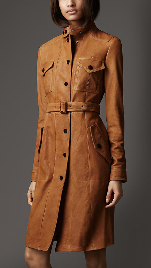Womens Brown Leather Trench Coat Jacketin