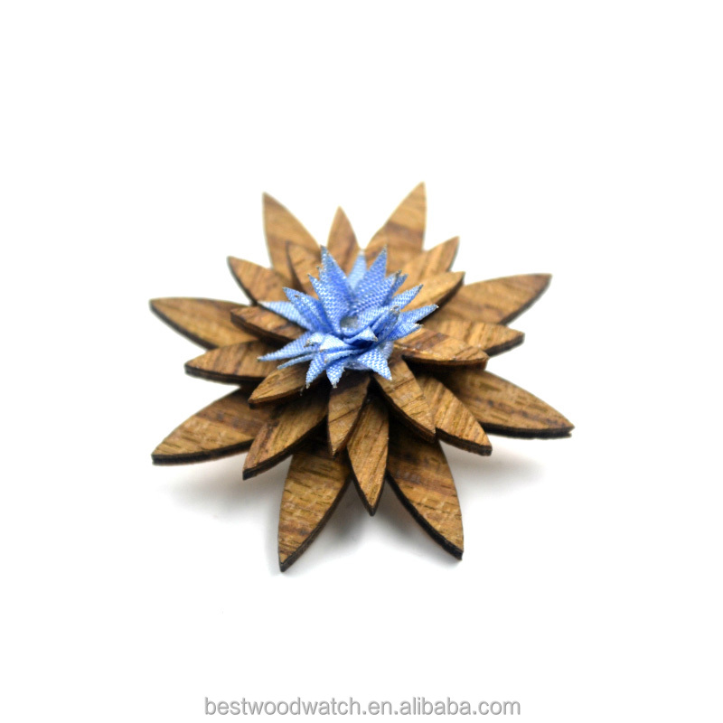 Custom wood brooch , elegant charming corsage , flower brooch pin