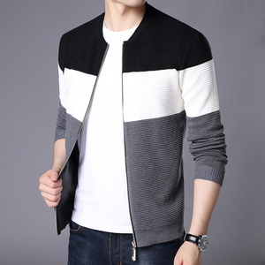 autumn new arrival crew neck long sleeve stripe zipper knitted man jacket cardigan