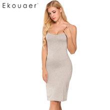 Ekouaer женские Для женщин Повседневное сексуальные платья без рукавов с v-образным вырезом сплошной дома дна прямое платье Размер S-2XL Платья ...(Китай)