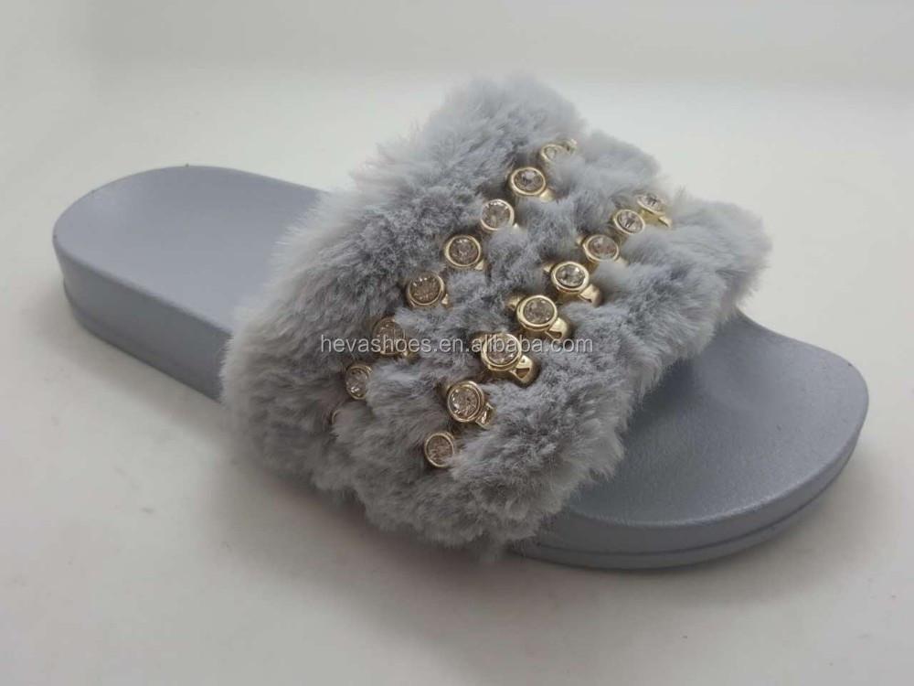 4a0448bd6d951 China wholesale faux fur slide sandals for women outdoor