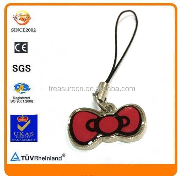 A Bow-Tie shape design epoxy metal parts cell phone charm