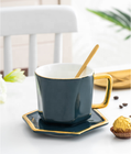 Royal green color irregular shape fancy coffee tea ceramic cup with saucer for restaurant