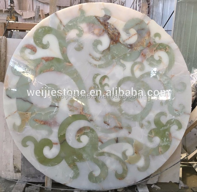 White and green onyx round shape floor medallion pattern