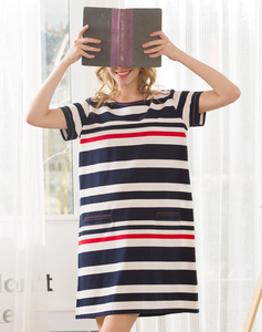 Wholesale Stripe Xxl Size Women Casual Women Night Dress