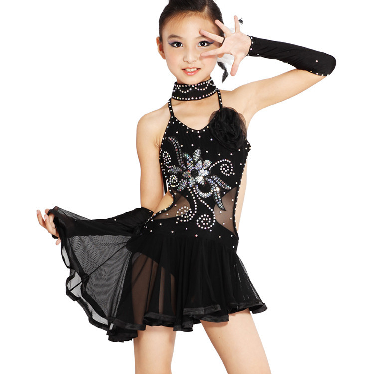 54cbf8f1a083c Get Quotations · H The Sale Girls Black Yellow Polyester S M L XL Camisole  Gauze Latin Dance Dress Ballroom Dance