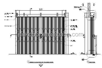 durable industrial horizontal sliding accordion door