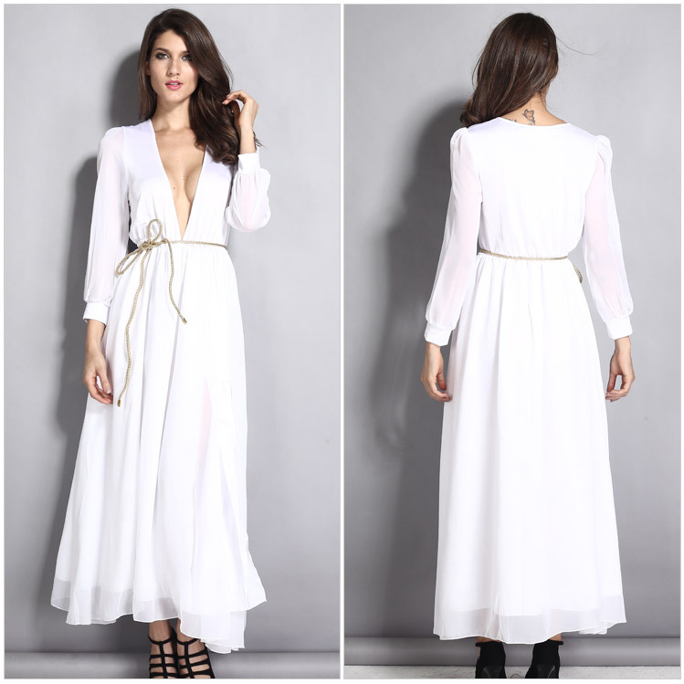 effdae233a Turmec » long sleeve deep v maxi dress