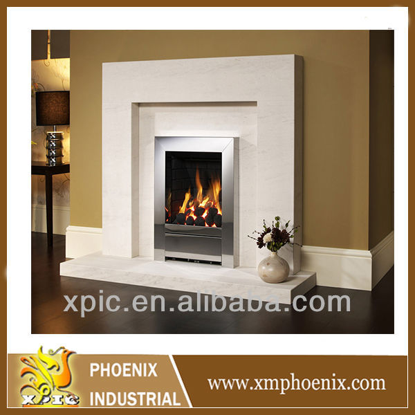 Marco de chimenea saln en tonos blancos con chimenea y espejo de marco dorado modelo chimenea - Marco de chimenea ...