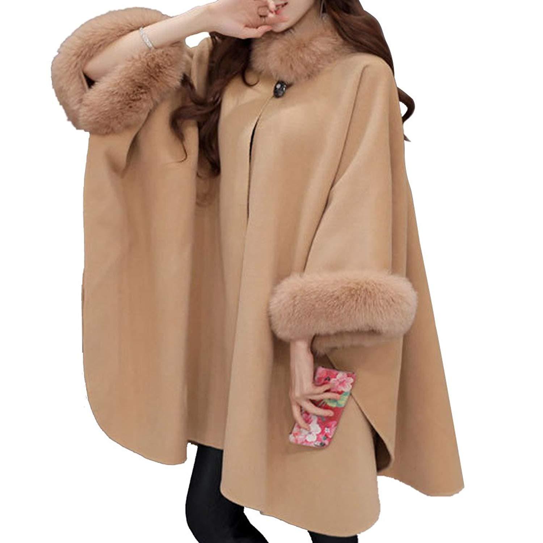 Fashion Women Jacket Casual Woollen Outwear Fur Collar Parka Cardigan Cloak Coat