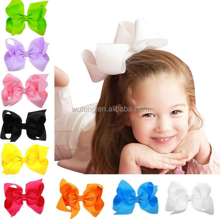 "Fashion 6"" Large <strong>Hair</strong> Bows With Clips For Childrens Handmade Grosgrain Ribbon Hairbow Baby <strong>Hair</strong> Bow <strong>Accessories</strong> 16 Colors"