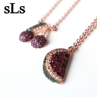 New Model Zircon Stone Jewelry Cherry Design 925 Silver Necklace From Taobao jewellery silver 925