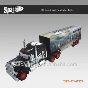 With colorful light rc trucks and trailers