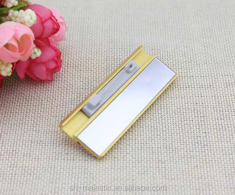 Gold Color Custom Name Tag Imprint Reusable Name Plate Fashion ...