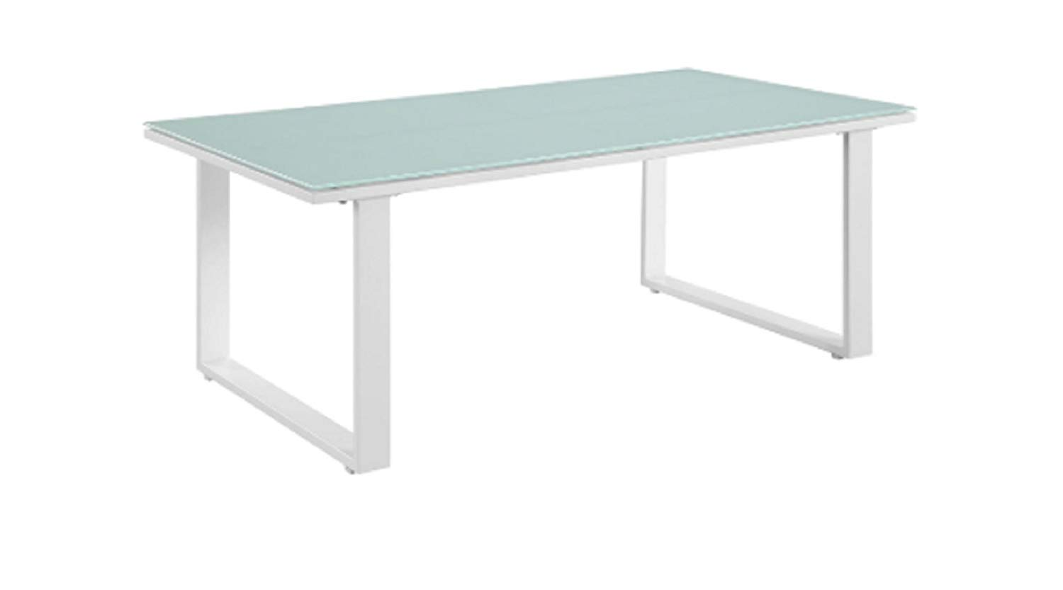 MyEasyShopping Outdoor Patio Coffee Table, White, 7 x 26 x 46 inches
