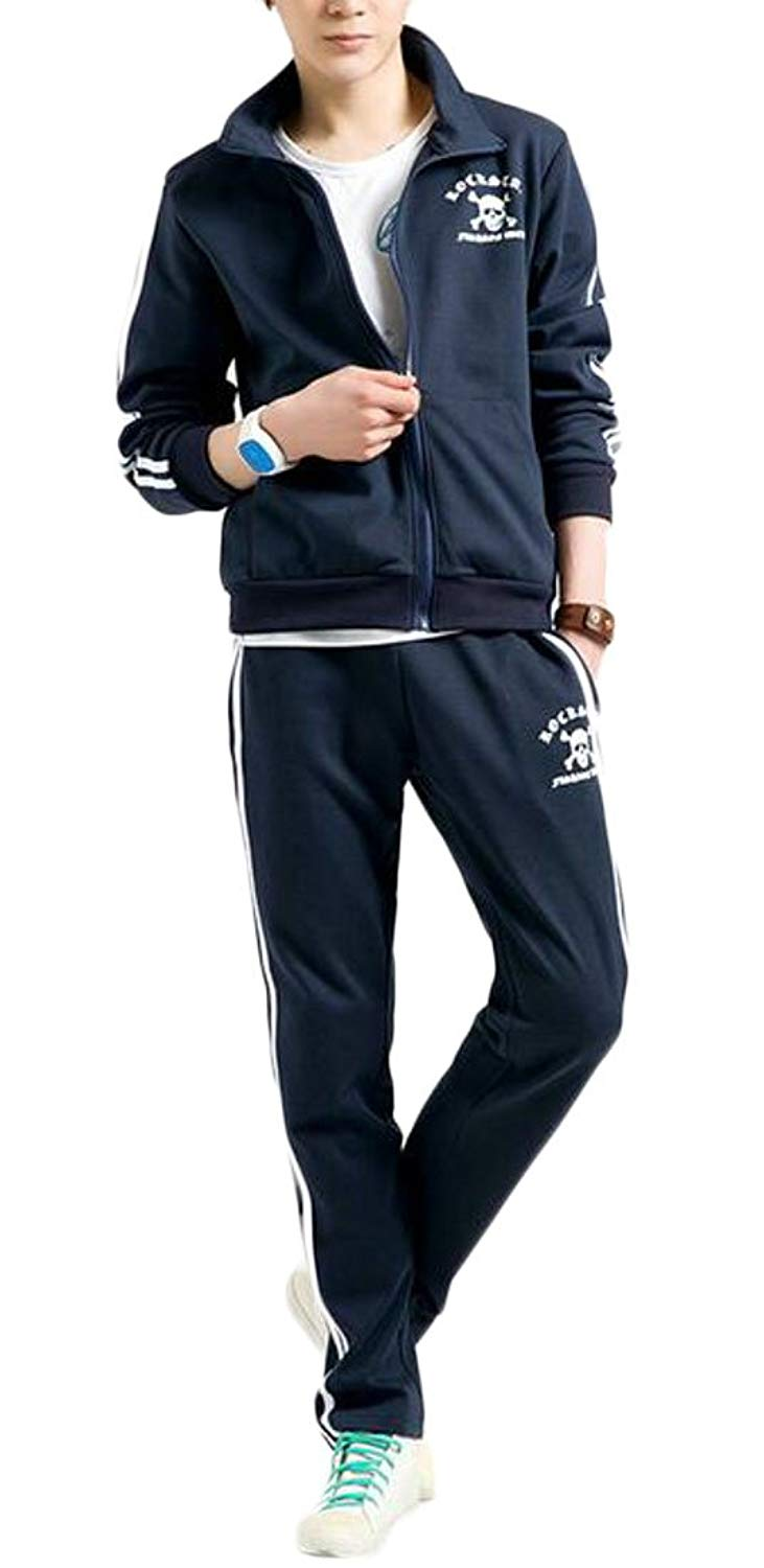 ARTFFEL Mens 2 Pieces Print Hoodie Sweatshirt with Pants Tracksuit Outfit Set