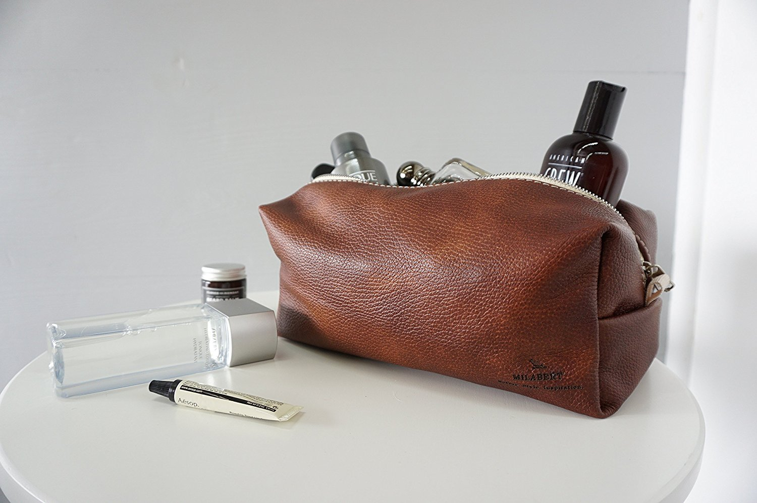 f987ce99c0 Get Quotations · Men s Finest Leather Toiletry Bag