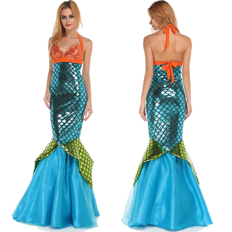 Get Quotations · halloween scale mermaid costume lace blue long fish dress women bodycon dress sexy halter dress sexy  sc 1 st  Alibaba & Cheap Little Mermaid Sexy Costume find Little Mermaid Sexy Costume ...
