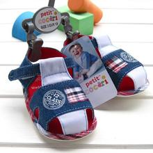 2015 new summer baby shoes good quality cow boy denim blue baby kids cotton sandal with