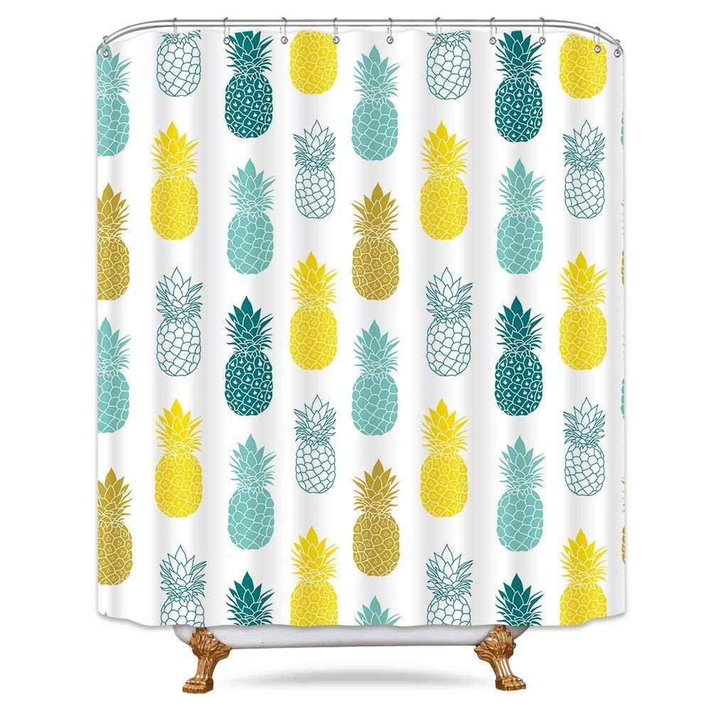Get Quotations Riyidecor Colorful Pineapple Shower Curtain 72x78 Inch Free Metal Hooks 12 Pack Blue Green Yellow