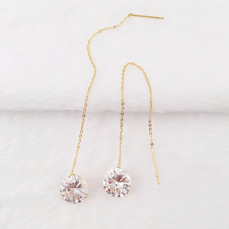 Trendy S Long Chain 14k Gold Hanging Earrings Round Crystal Pendant Earring With Ball